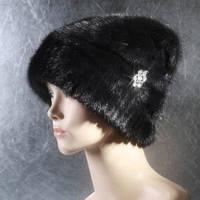 Женская меховая шапка Бусинка из норки