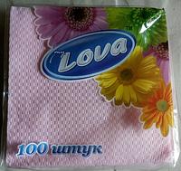 """Салфетки бумажные """"Lova"""" 100 шт 330х330 мм Обухов"""