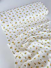 Муслин (хлопковая ткань) прованс желтый на белом (ширина 1,35 м)