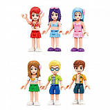 """Конструктор для дівчаток Рожева серія """"Cherry"""" Brick/Qman 2022 Курорт аквапарк з фігурками людей (828 деталей), фото 8"""