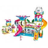 """Конструктор для дівчаток Рожева серія """"Cherry"""" Brick/Qman 2022 Курорт аквапарк з фігурками людей (828 деталей), фото 9"""