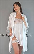 Комплект на утро невесты халат и пеньюар Este белый с кружевами.