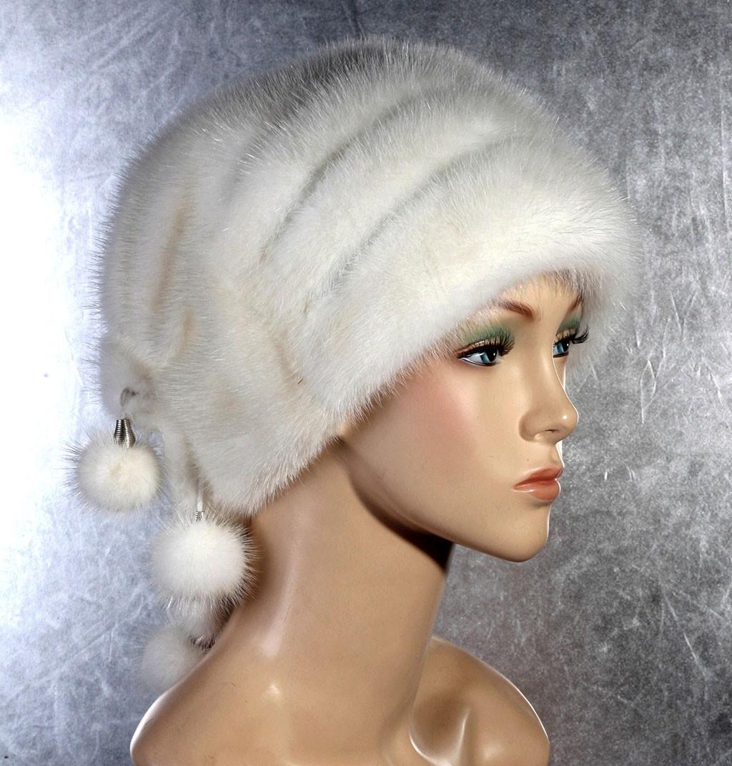Жіноча хутрова шапка Каскад з норки