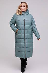 Стильне жіноче стеганное пальто осінь-зима Великі Розміри 46 48 50 52 54 56 58 60 62 64 66