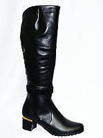 Женские зимние  сапоги на невысоком устойчивом каблуке, натуральная кожа., фото 1