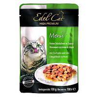 Консервы Edel Cat для кошек нежные кусочки в соусе, индичка и утка, 100 г