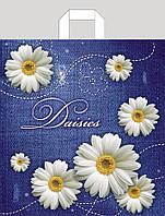 Пакет с  петлевой  ручкой Цветы 38х42 (25шт)