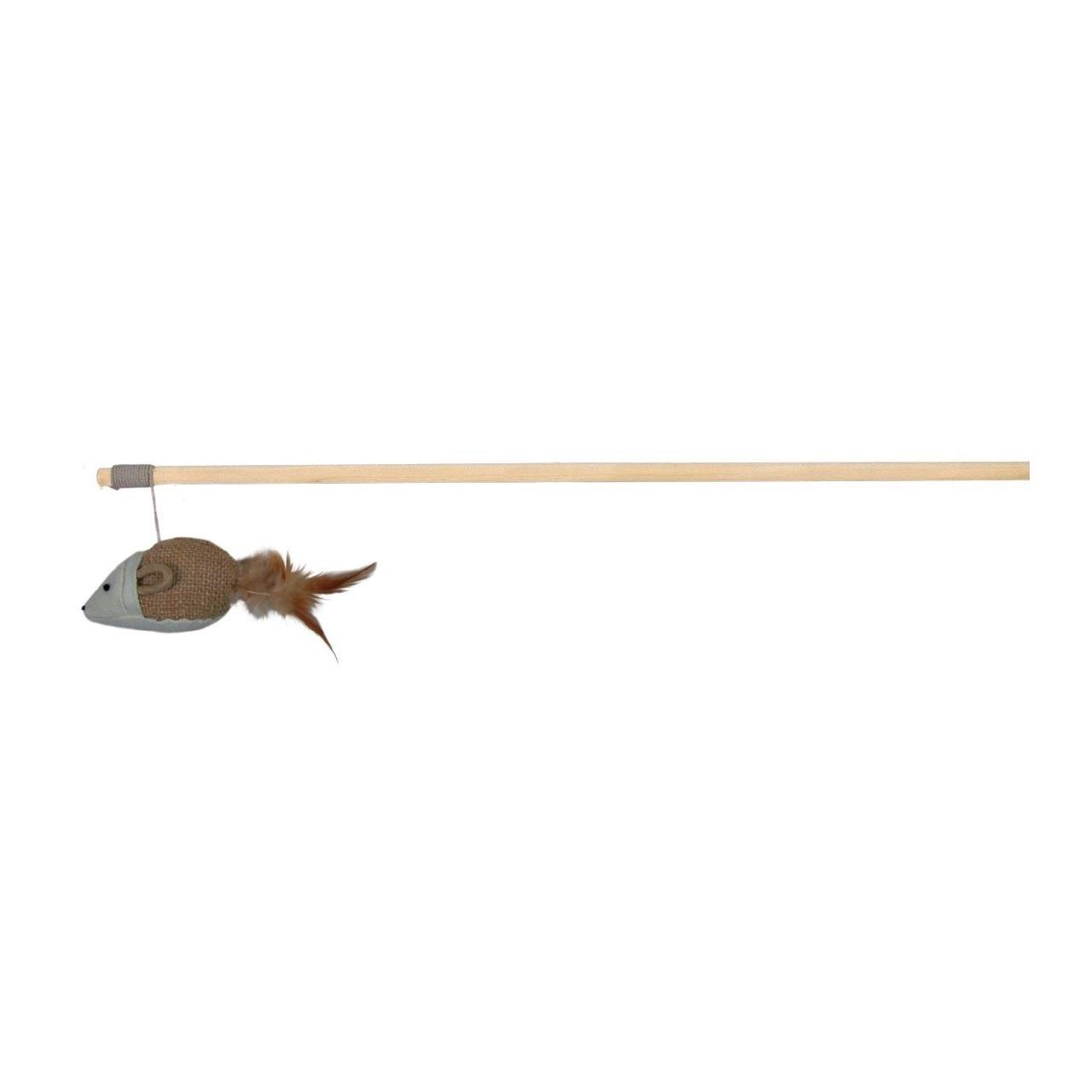 Іграшка для котів Trixie Вудка з мишкою і пір'ям 50 см