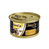 Влажный корм GimCat Shiny Cat k 70g для кошек тунец, креветки и мальт