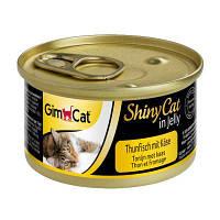 Влажный корм Shiny Cat k 70g для кошек тунец и сыр