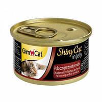 Влажный корм Shiny Cat k 70g для кошек курица, креветка и мальт