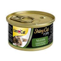 Влажный корм Shiny Cat k 70g для котов курица и трава