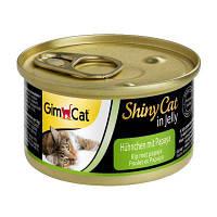 Влажный корм GimCat Shiny Cat k 70g для кошек курица и папайя в желе