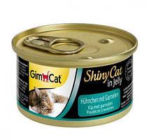 Влажный корм GimCat Shiny Cat k 70 г для кошек курица и креветка