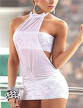 Эротическое белье. Сексуальный комплект. Пеньюар. Платье. Боди Нижнее белье (40 размер размер S) белый