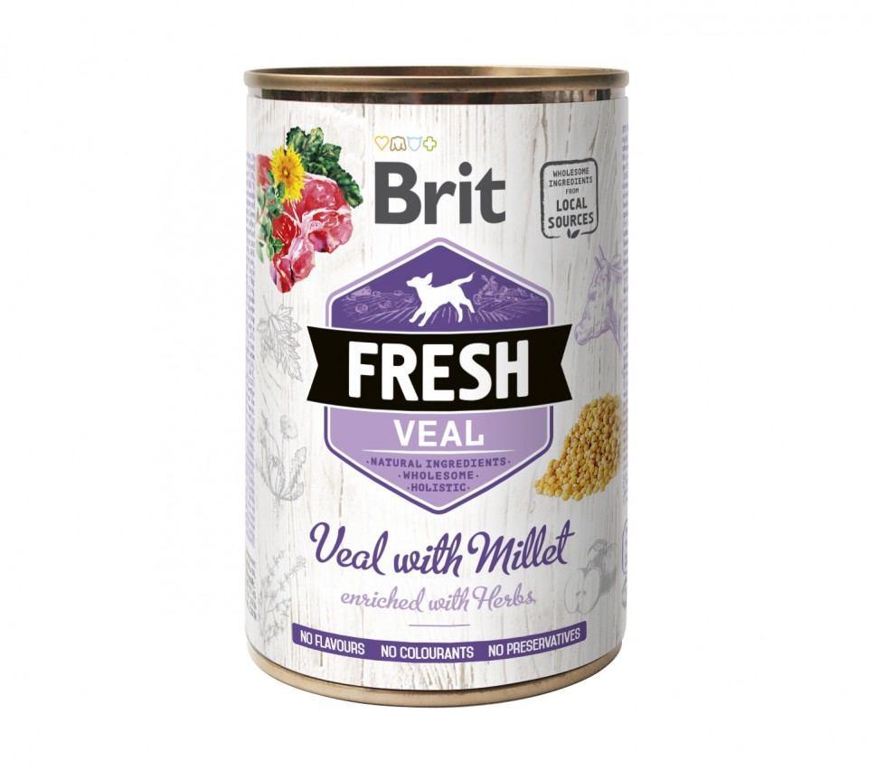 Консерва Brit Fresh Veal / Millet 400г для взрослых собак телятина, пшено