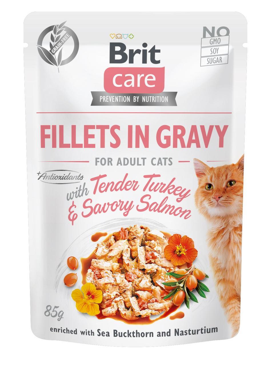 Brit Care Cat pouch 85g філе в соусі ніжна індичка і пікантний лосось