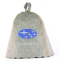 Шапка для сауны с вышивкой ' Subaru (Субару) ' (серый войлок), Saunapro