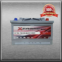 Акумулятор X-FORCE 75Ah/750A L+ (ИКСФОРС) (6CT - 75Аз 750A R MF) Автомобільний АКБ Туреччина ПДВ
