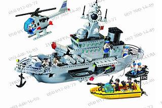 Военный корабль серии Combat Zones Конструктор Brick 821 Крейсер, 843 детали, двигающиеся элементы , фото 3