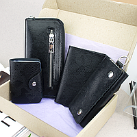 Подарочный набор №27: Кошелек + обложка на паспорт + ключница + визитница (черный питон), фото 1
