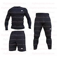 """Компрессионная одежда комплект 3 в 1 VENUM (Венум) для тренировок Черный Пакистан """"В СТИЛЕ"""""""