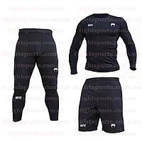 """Компрессионная одежда комплект 3 в 1 VENUM UFC (Венум) для тренировок Черный Пакистан """"В СТИЛЕ"""""""
