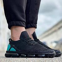 Мужские кроссовки молодежные (черные с бирюзой) 0276 стильная качественная обувь текстильная
