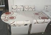 """Розкладний обідній кухонний комплект овальний стіл і стільці """"Кола бежевий фон"""" ДСП гартоване скло 75*130 Лотос-М"""
