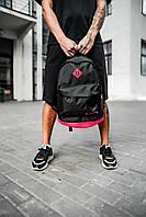 Рюкзак Nike городской мужской   женский спортивный для ноутбука (Найк) черный-розовый