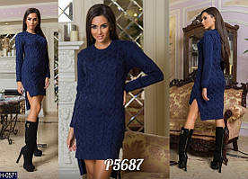 Стильное вязаное платье-туника женское облегающее осень-зима машинная вязка  арт. 4105