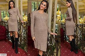 Стильное вязаное платье женское приталенное до колена длинный рукав  арт.4111