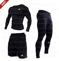 """Компрессионная одежда комплект 3 в 1 Adidas (Адидас) для тренировок Черный Пакистан """"В СТИЛЕ"""""""