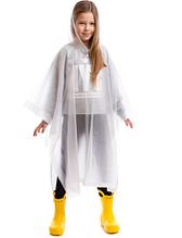 Дождевик детский для девочки Пончо многоразовый C-1020 Белый