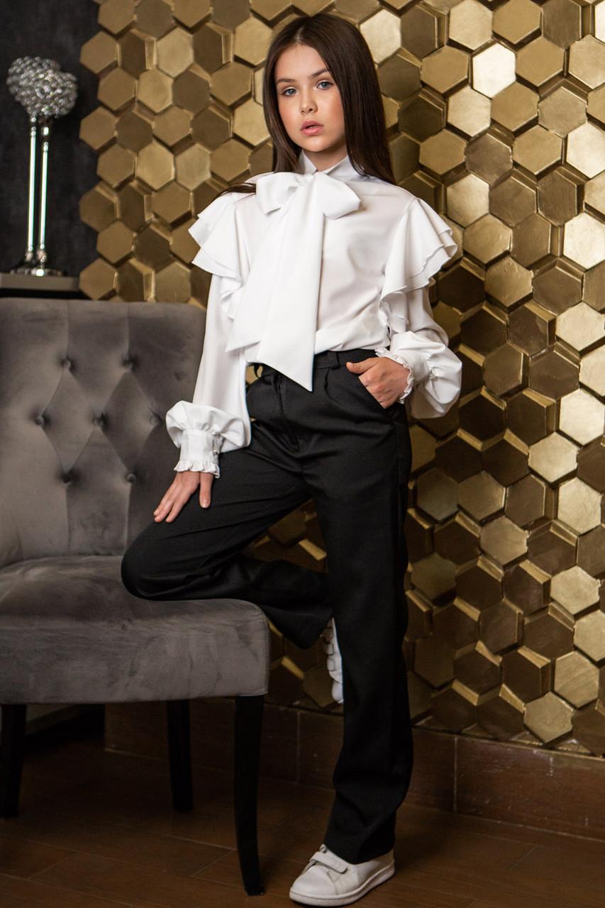Модная блуза с бантом для девочек на рост от 134 до 164 см