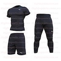 """Компрессионная одежда комплект 3 в 1 PUMA (ПУМА ) для тренировок Черный Пакистан """"В СТИЛЕ"""""""