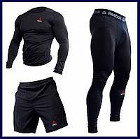 """Компрессионная одежда комплект 3 в 1 Reebok (Рибок) для тренировок Черный Пакистан """"В СТИЛЕ"""""""