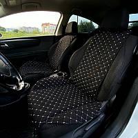 Накидка чехол на сиденья автомобиля из алькантары PREMIUM 1 шт Черная с белой прошивкой