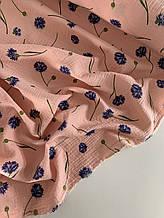 Муслин (хлопковая ткань) василек на персике