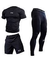"""Компрессионная одежда комплект 3 в 1 Under Armour для тренировок Черный Пакистан """"В СТИЛЕ"""""""
