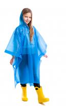 Дождевик детский для девочки Пончо многоразовый C-1020 Синий