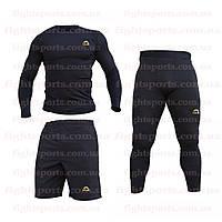 """Компрессионная одежда комплект 3 в 1 MANTO (Манто) для тренировок Черный Пакистан """"В СТИЛЕ"""""""