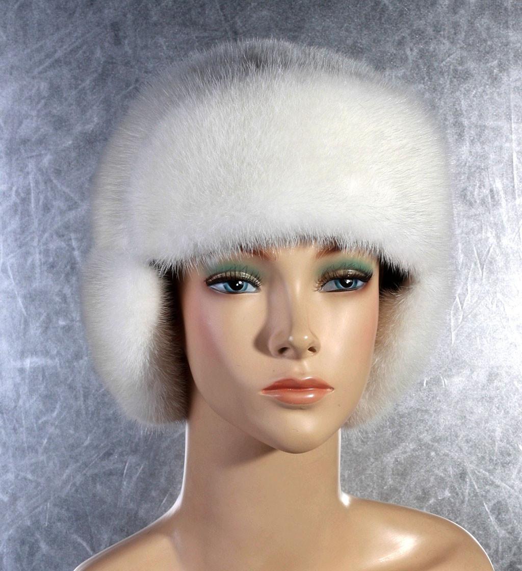 Женская меховая шапка Ушаночка из норки