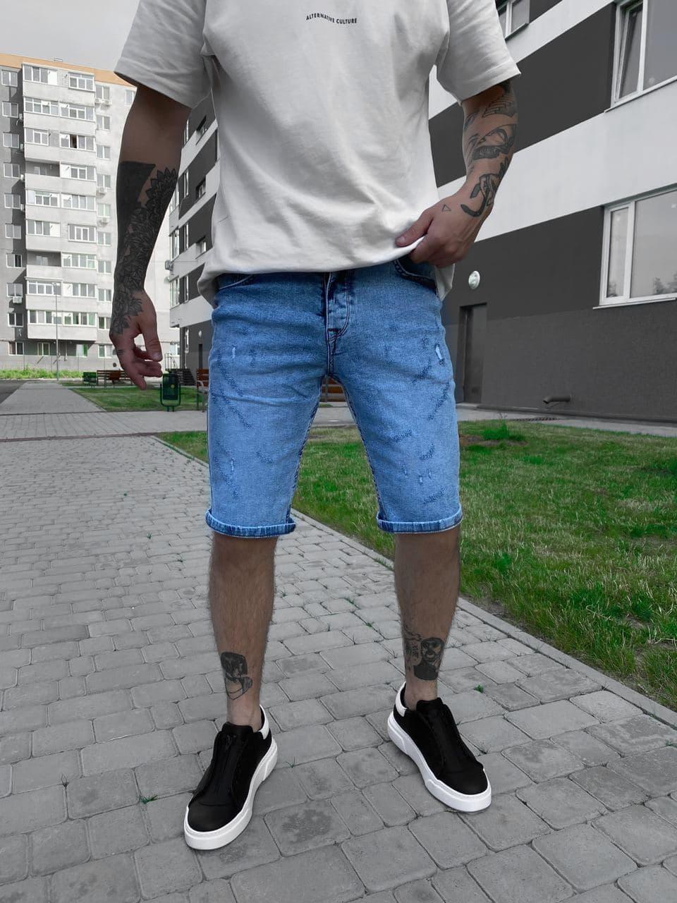Шорты джинсовые мужские голубые. Мужские джинсовые модные шорты голубого цвета.