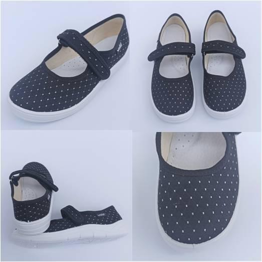 Тканинні чорні туфлі на дівчинку, Waldi фото