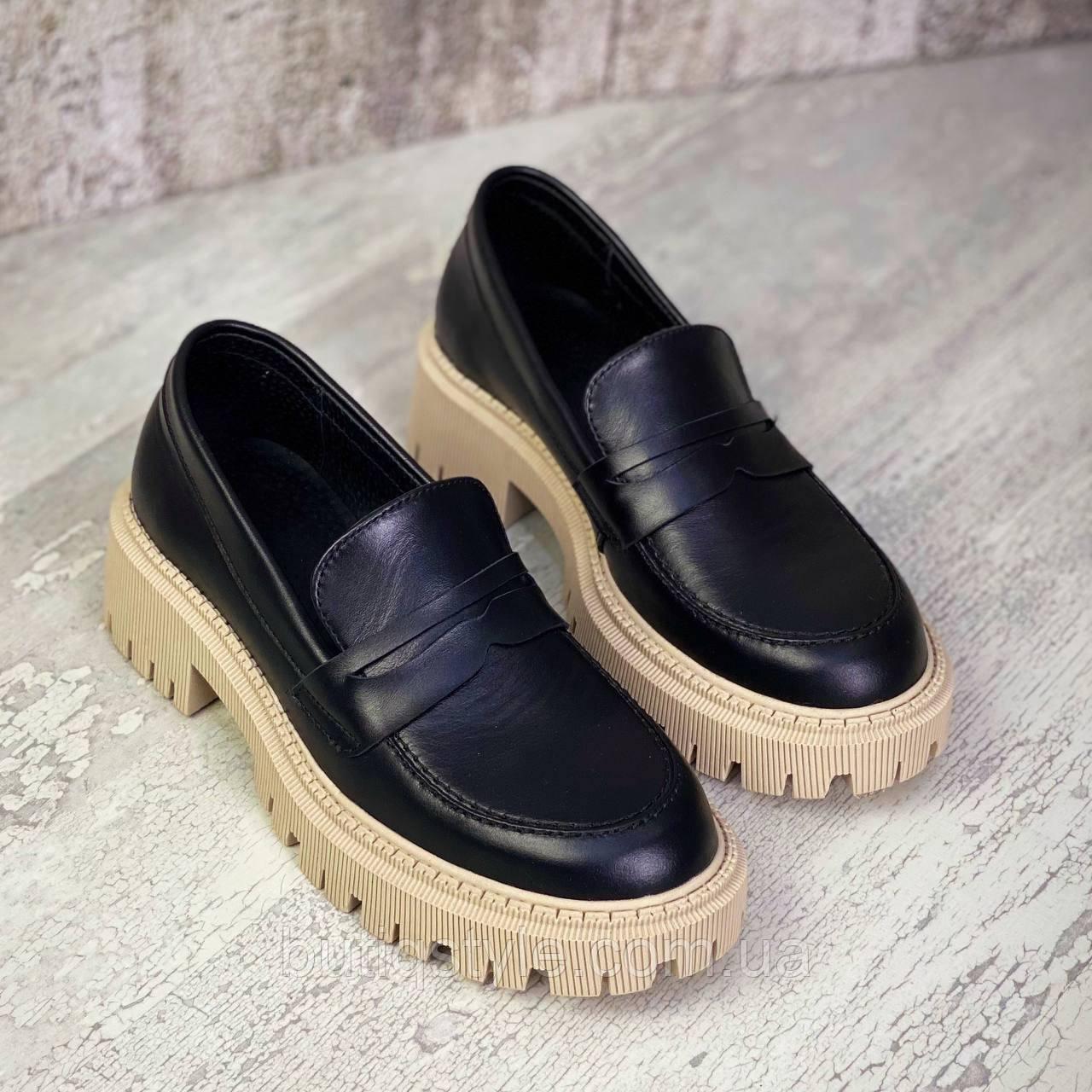 Женские черные туфли натуральная кожа