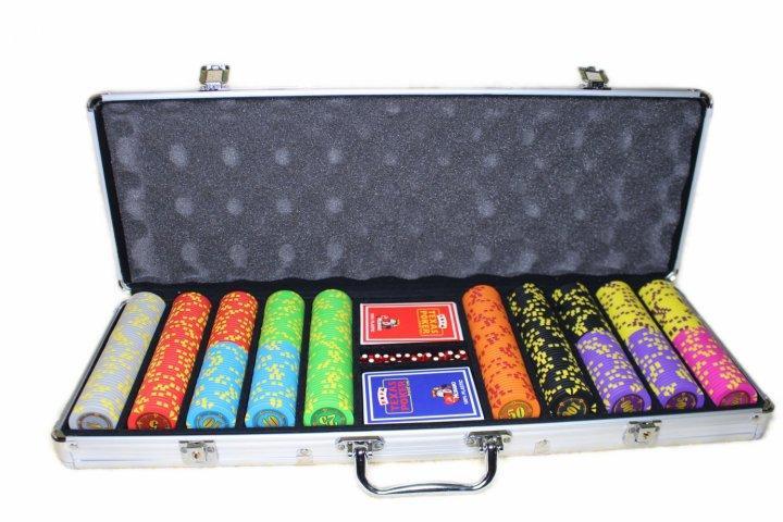 """Професійний набір для гри в покер """"Compass"""" 500 номінальних фішок в кейсі"""