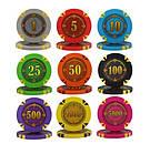 """Професійний набір для гри в покер """"Compass"""" 500 номінальних фішок в кейсі, фото 5"""