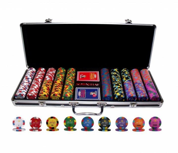 Професійний набір для гри в покер Monte Carlo Millions 500 номінальних фішок в кейсі