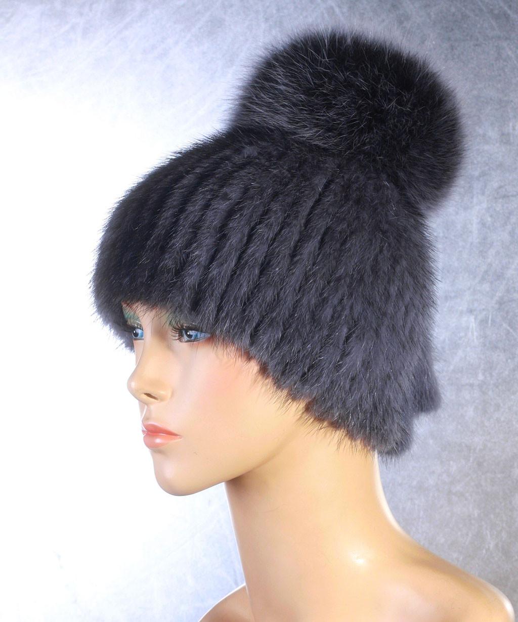 Женская меховая шапка Фонарик из норки и песца